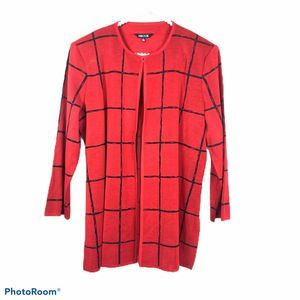 Misook red black checkered cardigan Large